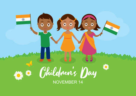 Children's Day in India vector. Indian children with indian flag vector. Cute little boy and girls holding hands vector. Three indian children on a meadow icon. Children's Day Poster, November 14 Иллюстрация