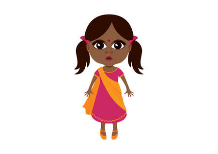 Cute little indian girl in traditional dress icon vector. Adorable indian baby girl in sari vector. Beautiful little ethnic girl icon isolated on a white background. Little girl with big brown eyes