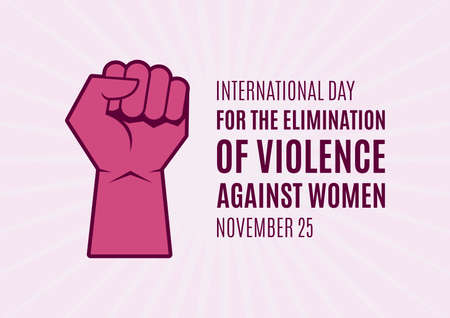 International Day for the Elimination of Violence against Women vector. Pink raised hand with clenched fist icon. Female fist raised in protest vector. Stop violence against women icon. Important day