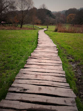 A wooden walkway in park stock images. Wooden sidewalk in nature stock photo. Autumn nature with wooden path images