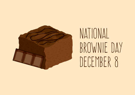 National Brownie Day vector. Chocolate Brownie icon vector. Sweet chocolate pastry icon. Brownie Day Poster, December 8. Important day