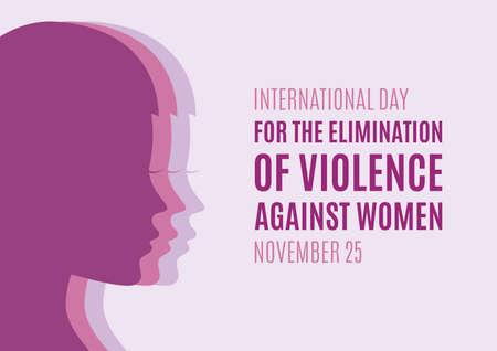 International Day for the Elimination of Violence against Women vector. Woman face profile purple silhouette icon. Pretty girl profile face silhouette. Stop violence against women icon. Important day