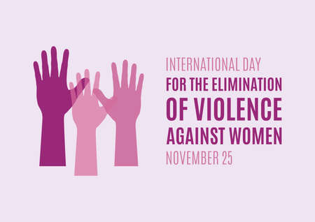 International Day for the Elimination of Violence against Women vector. Woman hand purple silhouette vector. Female pink hands silhouette icon. Stop violence against women vector. Important day Ilustração
