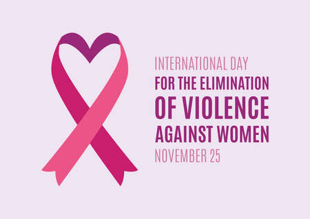 International Day for the Elimination of Violence against Women vector. Purple ribbon symbol. Pink ribbon with heart shape vector. Stop violence against women vector. Important day