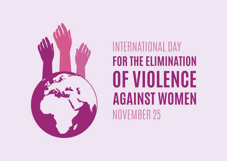 International Day for the Elimination of Violence against Women vector. Woman hand with planet earth purple silhouette icon vector. Female pink hands vector. Stop violence against women vector