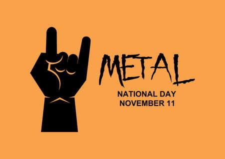 National Metal Day Poster with metal hand gesture icon vector. National Metal Day vector. Metal hand gesture black silhouette vector. Metal Day Poster, November 11. Important day Ilustração