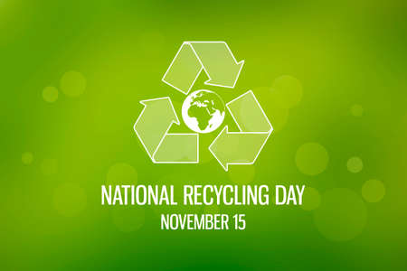 National Recycling Day images. Green arrows recycling symbol with planet earth icon. Green Environment illustration. Recycling Day Poster, November 15. Important day Imagens