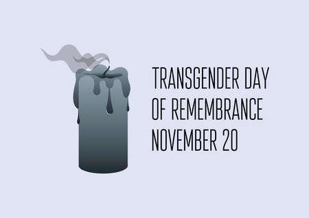 Transgender Day of Remembrance vector. Black extinguished candle smoke icon vector. Black candle metaphor death vector. Transgender Day of Remembrance Poster, November 20. Important day Ilustração