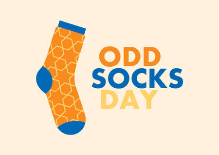 Odd Socks Day vector. One orange-blue sock vector. Colorful sock icon vector. Important day