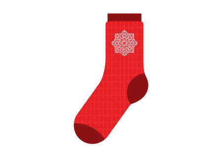 Red sock with snowflake icon vector. Red sock with christmas pattern knit icon vector. Red wool knitted sock icon isolated on a white background. Warm winter socks clip art Ilustração
