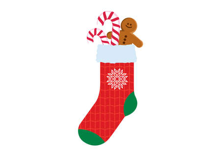 Red christmas sock with candy cane and gingerbread man icon vector. Red sock with snowflake icon vector. Red sock with christmas pattern knit icon vector. Christmas cookies in a sock vector