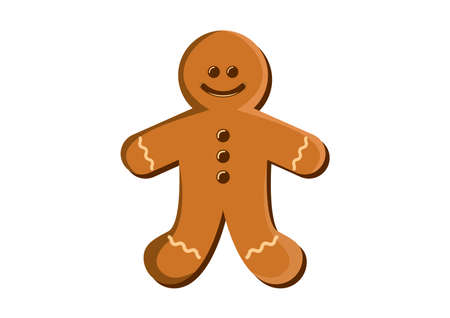 Christmas cute cookie gingerbread man with icing icon vector. Gingerbread man icon isolated on a white background. Christmas cookie gingerbread man vector Ilustração