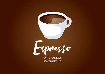 National Espresso Day vector. Cup of coffee icon vector. White cup of coffee isolated on a brown background. Espresso Day Poster, November 23. Important day Ilustração