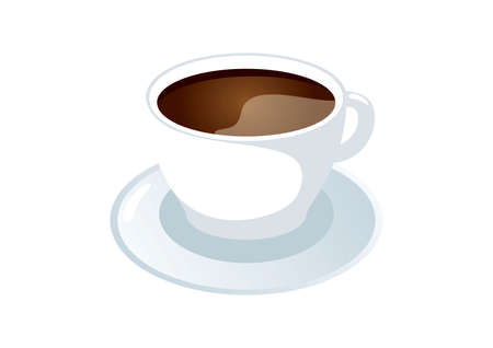 Black coffee cup and saucer icon vector. White ceramic cup of coffee icon isolated on a white background. Cup of espresso vector. Cup of coffee from a saucer vector Ilustração