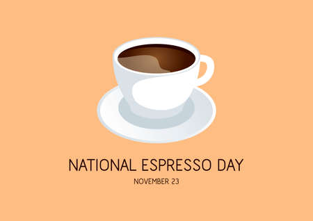 National Espresso Day vector. Black coffee cup and saucer icon vector. White ceramic cup of coffee isolated on a brown background. Espresso Day Poster, November 23. Important day Ilustração
