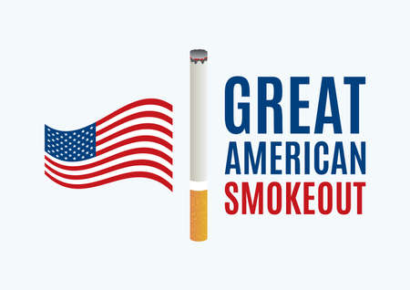 Great American Smokeout vector. American flag with cigarette icon vector. Stop smoking campaign vector Ilustração