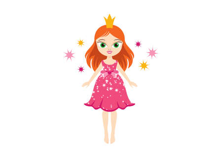 Cute little girl in a pink princess dress icon vector. Princess in a pink dress vector. Sweet doll icon vector. Cute fairy in pink dress clip art. Adorable little girl with red hair and a crown vector