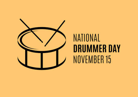 National Drummer Day vector. Drum and drumsticks black silhouette icon vector. Drummer Day Poster, November 15. Important day