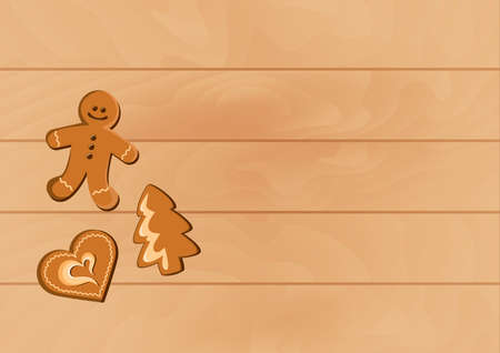 Christmas gingerbread cookies on the table top view vector. Christmas gingerbread cookies on a wooden background vector. Christmas wooden background with copy space for text vector. Xmas wood frame Ilustração