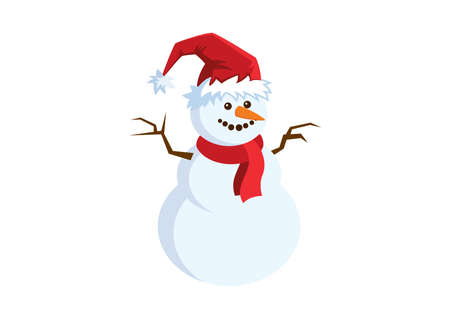 Snowman with red scarf and santa hat icon vector. Cheerful snowman with carrot vector illustration. Cute snowman icon isolated on a white background