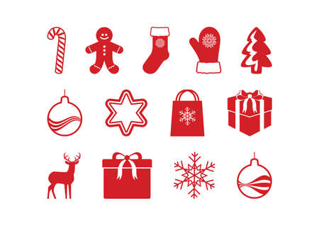 Christmas red icons isolated on a white background vector. Christmas red white icon set vector. Xmas simple red icon set. Big collection of christmas symbols vector