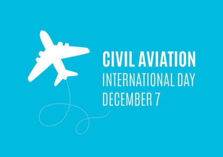 International Civil Aviation Day vector. Airplane white silhouette icon isolated on a blue background. Silhouette aircraft icon vector. Civil Aviation Day Poster, December 7. Important day