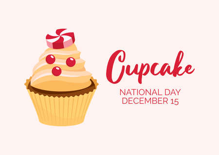 National Cupcake Day on December 15 vector illustration. Vanilla cupcake with hard christmas candy icon vector. Decorated christmas cupcake with sprinkles vector. Cupcake Day Poster, December 15
