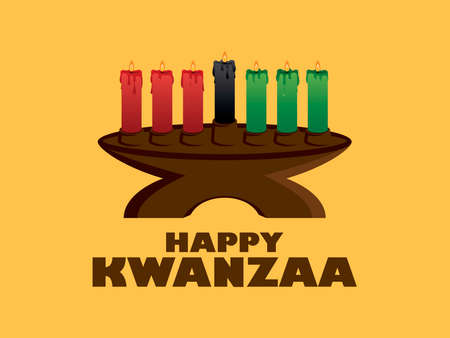 Happy Kwanzaa Sign with kinara candlestick vector. Kinara candlestick holder with seven burning candles vector. African American cultural holiday. Important day