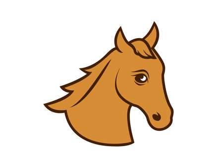 Stylized brown horse head icon vector. Beautiful silhouette brown horse head vector. Simple horse head icon isolated on a white background Ilustração