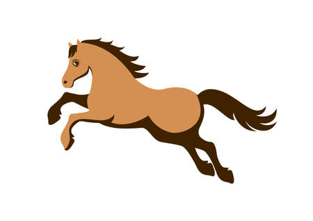 Beautiful brown horse running icon vector. Brown horse jumping icon vector. Stylized brown horse icon isolated on a white background. Silhouette brown horse vector