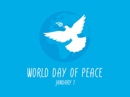 World Day of Peace on 1 January vector. Dove of peace white silhouette vector. Silhouette of planet earth with dove of peace vector. Important day