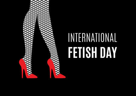 International Fetish Day vector. Female legs in high heels vector. Red high heels and fishnet stockings vector. Sexy women's legs icon. BDSM community holiday. Important day Vektorové ilustrace
