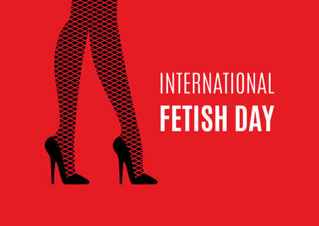 International Fetish Day vector. Female legs in high heels vector. Black high heels and fishnet stocking silhouette on a red background. Sexy women's legs icon. BDSM community holiday. Important day Vektorové ilustrace