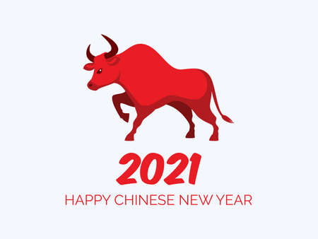 Happy chinese new year 2021, year of the ox vector. Chinese new year 2021 poster with red ox icon vector. Red bull icon vector. Red chinese buffalo icon isolated