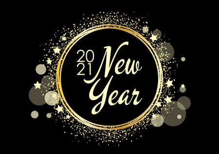 2021 New Year shiny golden round frame on a black background vector. 2021 New Year sign on a golden festive background. Happy New Year 2021 black gold greeting card vector