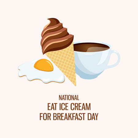 National Eat Ice Cream for Breakfast Day vector. Egg, coffee and ice cream for breakfast icon vector. Chocolate ice cream cone, cup of coffee and fried egg vector. Funny holiday. Important day