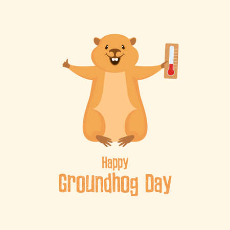 Happy Groundhog Day Poster with marmot with a thermometer vector. Marmot predicting the weather cartoon character. Weather forecast with marmot vector. Woodchuck with a thermometer icon. Important day