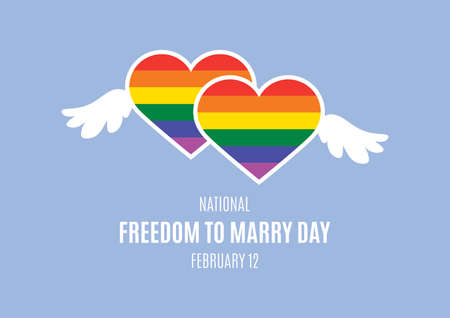 National Freedom to Marry Day vector. Rainbow heart shape LGBTQ icon. Same-sex marriage support vector. Two rainbow hearts with wings vector. Freedom to Marry Day Poster, February 12. Important day