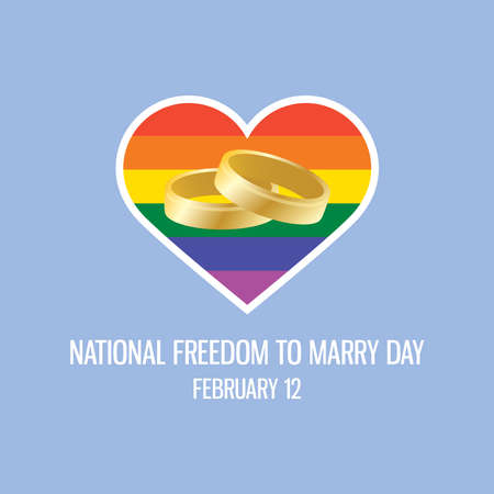 National Freedom to Marry Day vector. Golden wedding rings with rainbow heart flag icon. Same-sex marriage support vector. Two gold rings with LGBT flag icon. Freedom to Marry Day Poster, February 12
