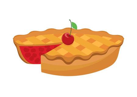 Classic Cherry Pie icon vector. Classic american pie with cherries icon vector. Sweet cake icon isolated on a white background Vektoros illusztráció