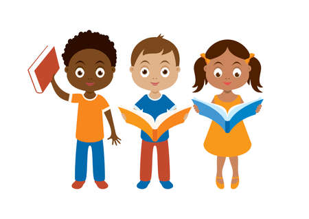 Diverse group of children reading a book vector. Group of kids with book icon isolated on a white background. Cute little readers icon set
