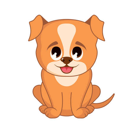 Very cute brown little puppy icon vector. Adorable rusty puppy vector. Super cute little red puppy vector. Sitting brown baby dog cartoon character. Cute dog icon isolated on a white background Vectores