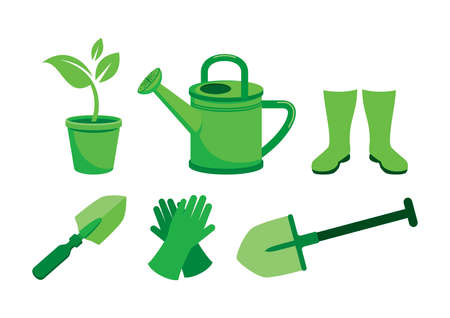 Gardening equipment and tools green icon set vector. Garden tools green icons isolated on a white background. Garden watering can, shovel, spade, flowerpot with plant, gloves and rubber boots vector Vectores