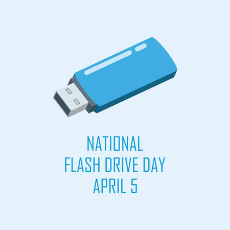 National Flash Drive Day vector. Blue USB flash drive icon vector. Flash Drive Day Poster, April 5. Important day Vectores