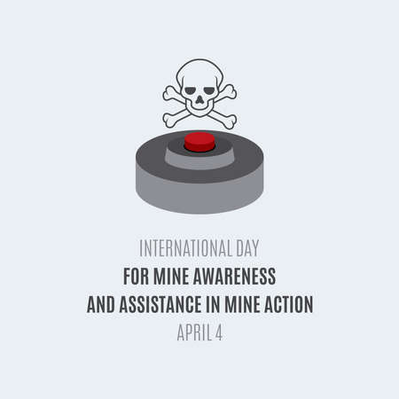 International Day for Mine Awareness and Assistance in Mine Action vector. Landmine with a skull symbol vector. Day for Mine Awareness and Assistance in Mine Action Poster, April 4. Important day