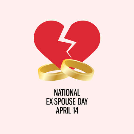 National Ex-Spouse Day vector. Broken heart with wedding rings icon vector. Ex-Spouse Day Poster, April 14. Important day