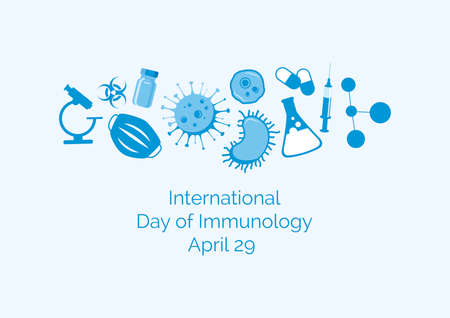 International Day of Immunology vector. Scientific and medical equipment blue icon set vector. Cells and bacteria vector. Day of Immunology Poster, April 29. Important day