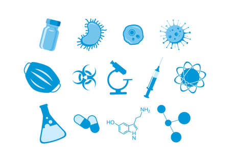 Scientific and medical equipment blue icon set vector. Science laboratory tools icons isolated on a white background. Science and education icon set vector