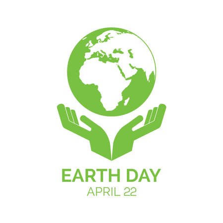 Earth Day green icon with hands and planet earth vector. Hands holding planet earth icon vector. Earth Day Poster, April 22. Important day