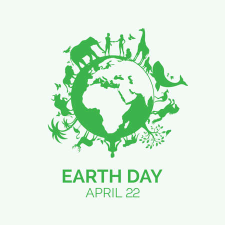 Earth Day concept with animals and plants vector. Planet Earth with fauna and flora icon. Environmental concept. Wild animals green silhouette vector. Earth Day Poster, April 22. Important day